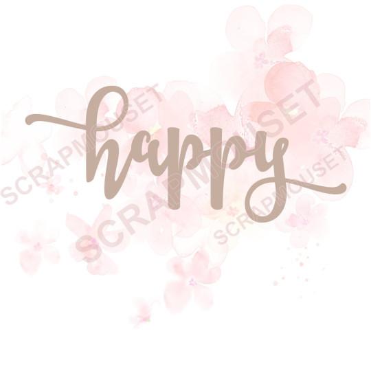 Mot Happy en carton bois scrapmouset