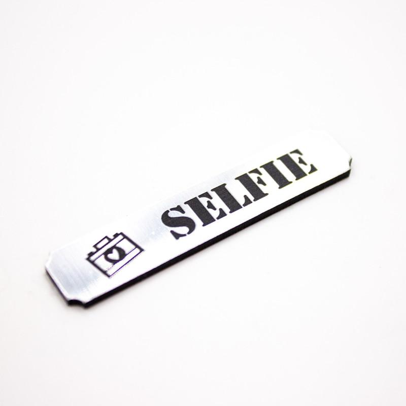 Etiquette selfie en acrylique argent brossé scrapmouset