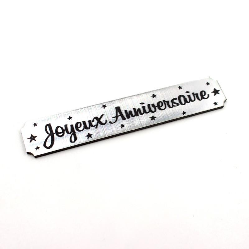 Etiquette rectangulaire Joyeux Anniversaire en acrylique argent brossé de Scrapmouset