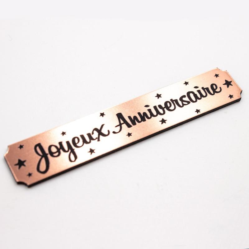 Etiquette rectangulaire Joyeux anniversaire en Acrylique Rose Gold 6,9 x 1.3 cm SCRAPMOUSET