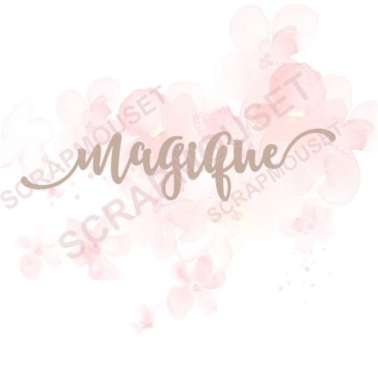 Mot en Carton bois - Magique - 12,5 x 2,9 cm