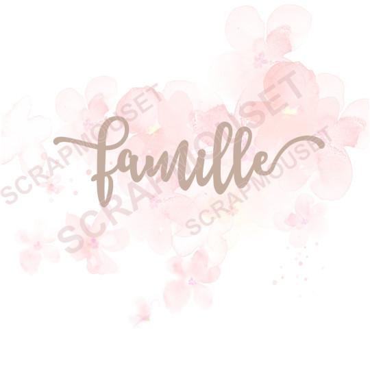 Mot en Carton bois - Famille - 11 x 3,7 cm