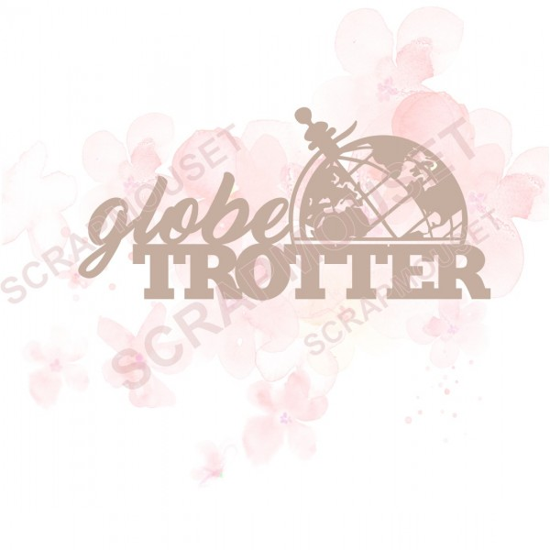 Mots en Carton bois - Globe trotter (grand globe) - 8.9 x 4.2 cm