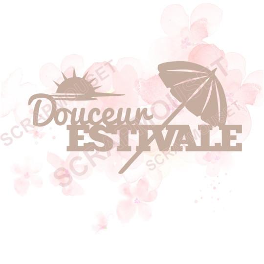 Mots en Carton bois - Douceur estivale (parasol) - 11 x 5.8 cm