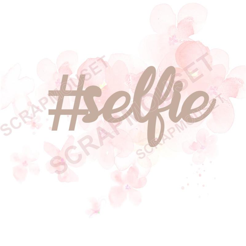 Mot en Carton bois hastag selfie - 4.5 x 2.2 cm