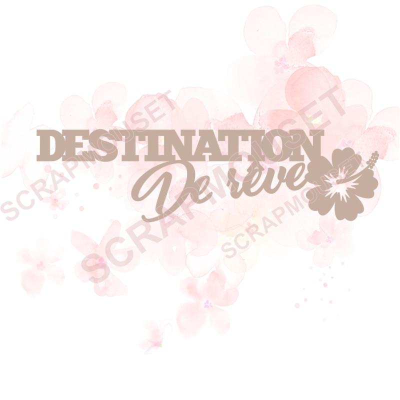 Mot en Carton bois - Destination de rêve - 12.8 x 3.5 cm