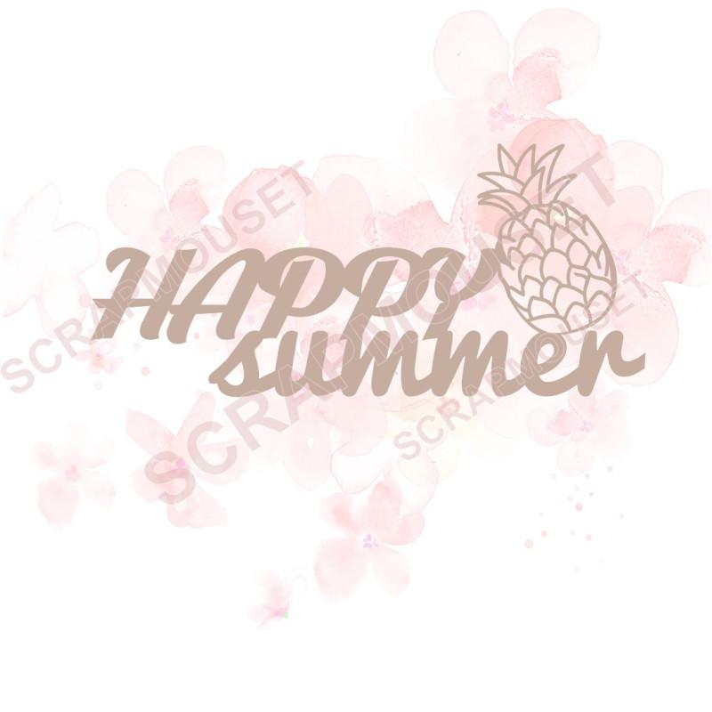 Mot en Carton bois - Happy summer - 9.3 x 4.2 cm