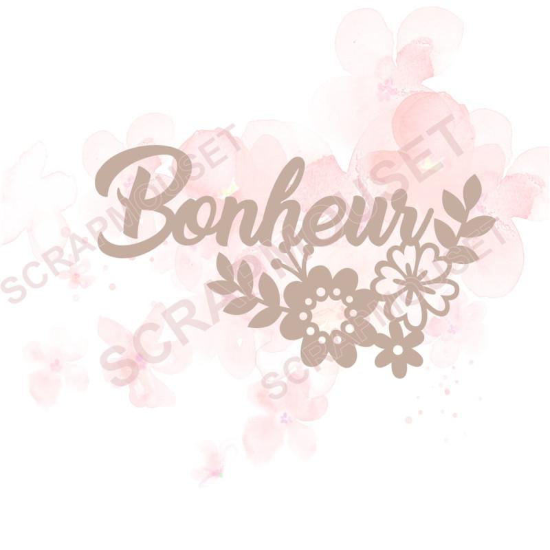 Mot en Carton bois - Bonheur (et petites fleurs) - 7.4 x 4.3 cm