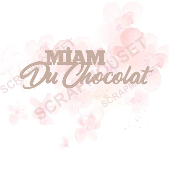 Mot Miam du chocolat en carton bois SCRAPMOUSET