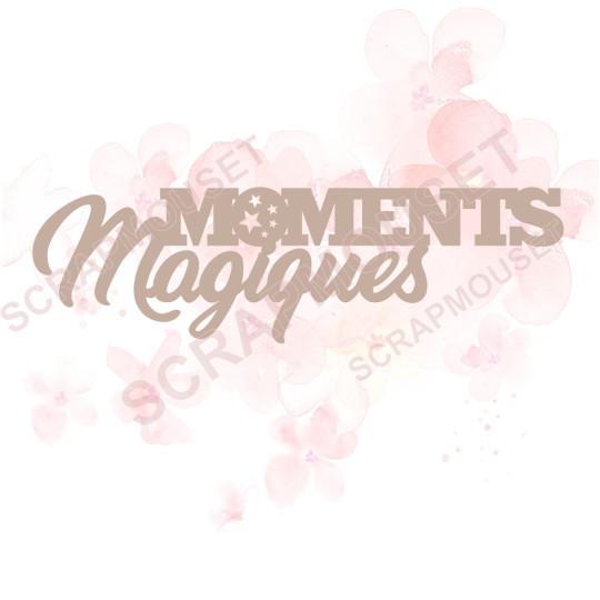 Mot Moments magiques en carton bois Scrapmouset