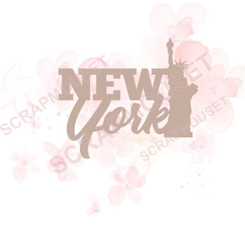 Mot en Carton bois - New York - 5,7 x 4,9 cm