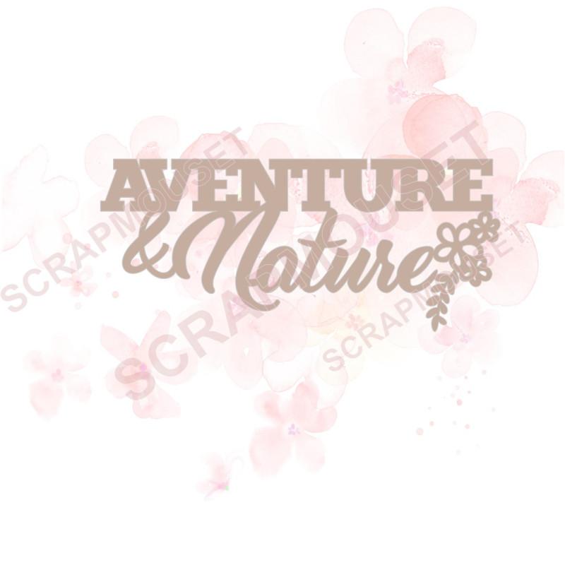 Mot Aventure & Nature en Carton bois - 9,1 x 3,9 cm