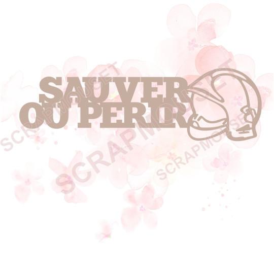 Mot Sauver ou périr en Carton bois - 11,5 x 3,5  cm