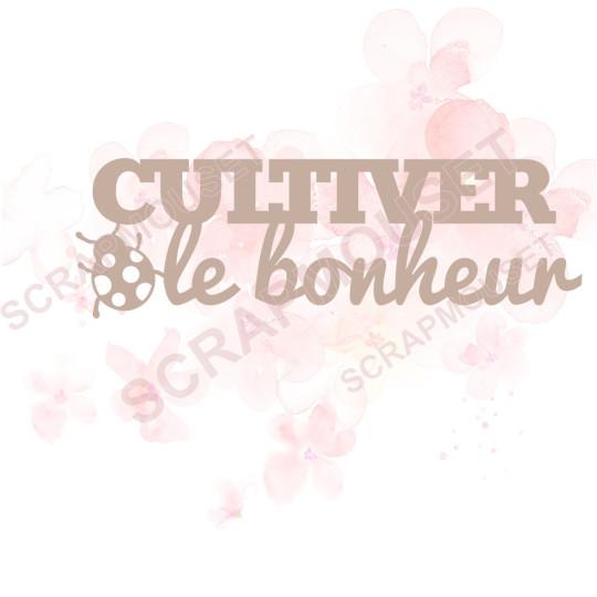 Mot Cultiver le bonheur en Carton bois - 10,6 x 4,3 cm