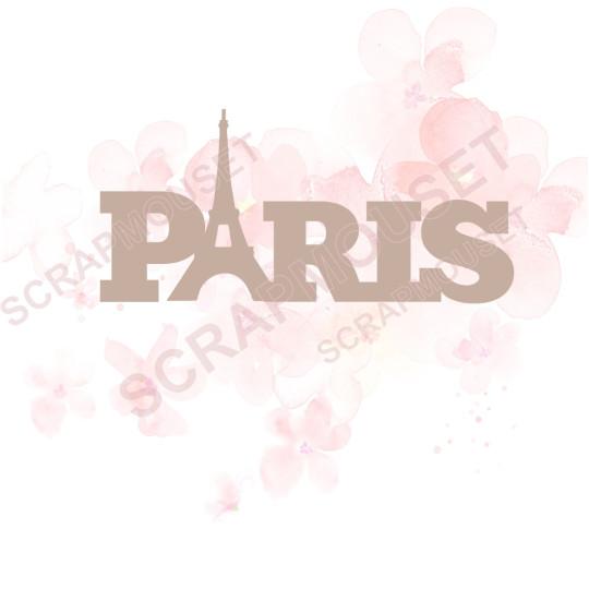 Mot Paris en carton bois SCRAPMOUSET 5,7 x 2,7 cm