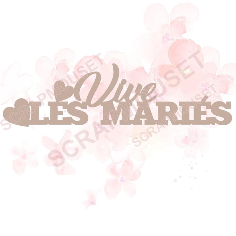 Mot Vive les mariés en carton bois SCRAPMOUSET 13,4 x 3,7  cm