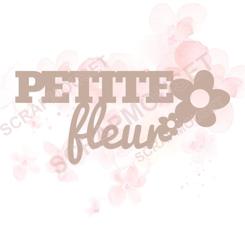 Mot Petite fleur en carton bois SCRAPMOUSET 8,7 x 3,7 cm