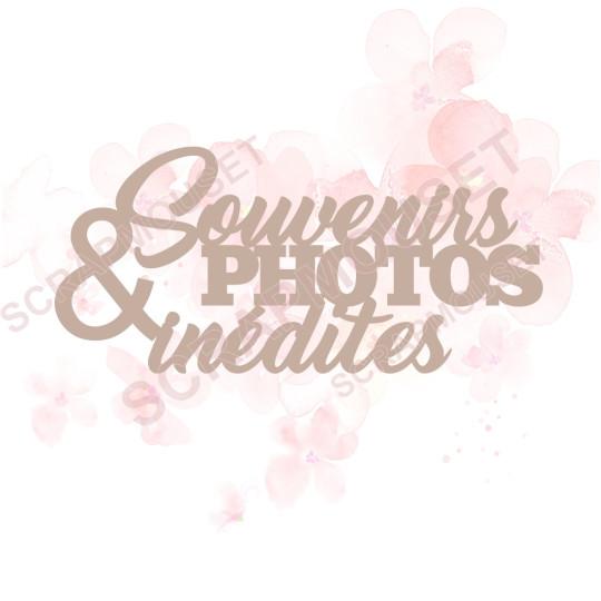 Mot Souvenirs et photos inédites en carton bois SCRAPMOUSET 10 x 4,6 cm