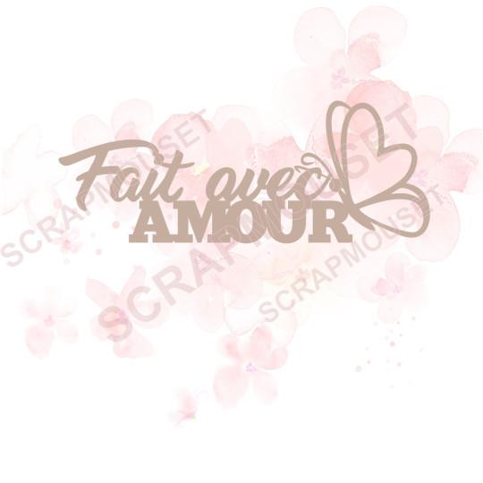 Mot Fait avec amour en carton bois SCRAPMOUSET 10,9 x 4,2  cm