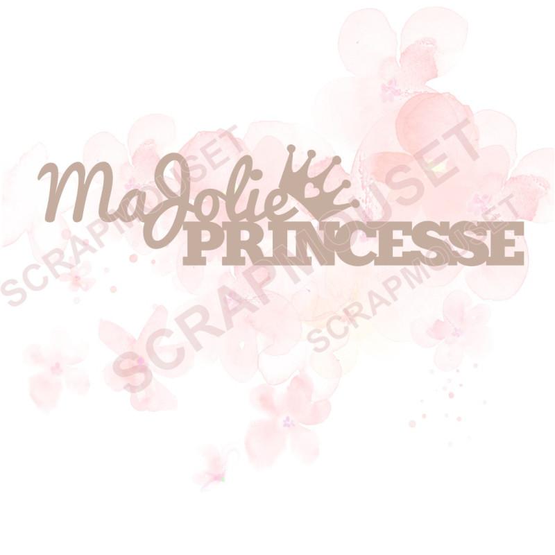Mot Ma jolie Princesse en carton bois SCRAPMOUSET 13,1 x 3.5 cm