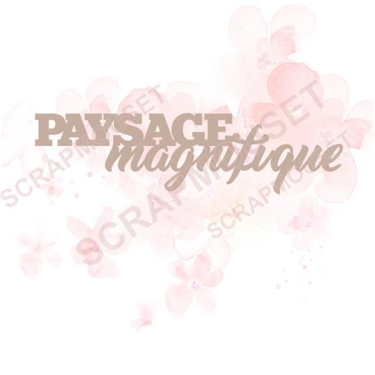 Mot Paysage magnifique en carton bois SCRAPMOUSET 12,3 x 3,2 cm