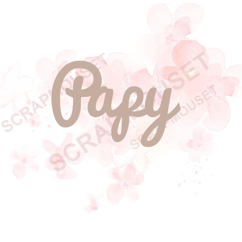 Mot Papy en carton bois SCRAPMOUSET