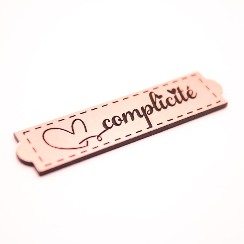 Étiquette complicité en acrylique rose gold scrapmouset