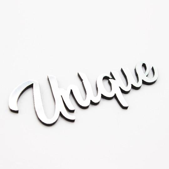 Mot unique en acrylique argent brossé scrapmouset