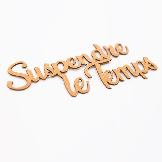 Mot suspendre le temps aspect cuir vintage Scrapmouset pour scrapbooking