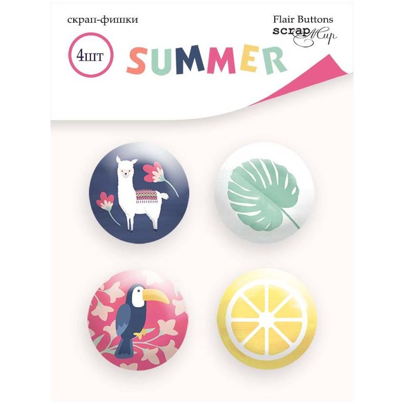 Lot de 4 badges collection Summer SCRAPMIR