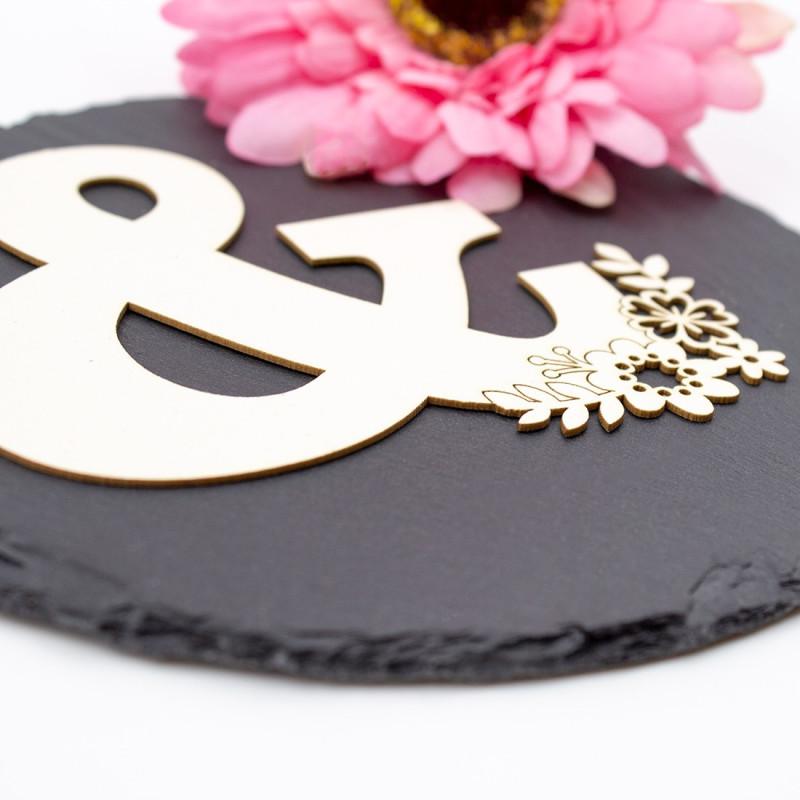 Grande esperluette avec petites fleurs en carton bois SCRAPMOUSET