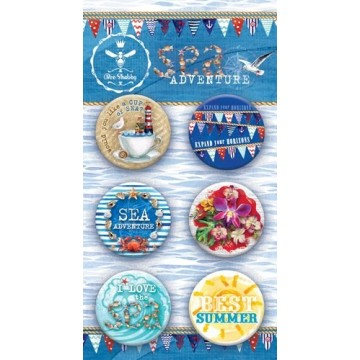 Lot 6 badges collection Sea Adventure BEE SHABBY