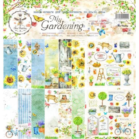 Set de 8 papiers scrapbooking My Gardening BEE SHABBY
