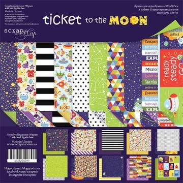 Set 10 papiers scrapbooking 30 x 30 collection Ticket to the moon SCRAPMIR