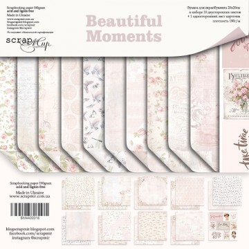 Set 10 papiers scrapbooking 20 x 20 collection Beautiful Moments SCRAPMIR