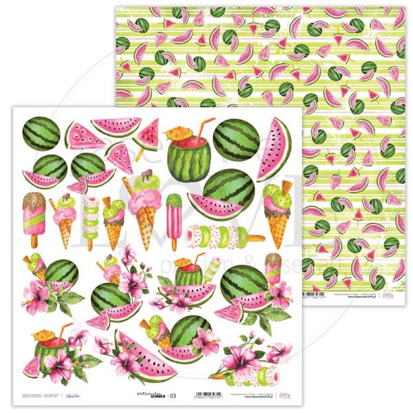 Set papiers scrapbooking 30 x 30 collection Watermelon Summer LASEROWE LOVE