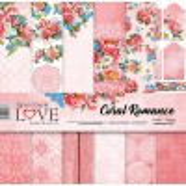 Set papiers scrapbooking 30 x 30 collection Coral Romance LASEROWE LOVE
