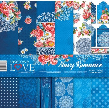 Set papiers scrapbooking 30 x 30 collection Navy Romance LASEROWE LOVE