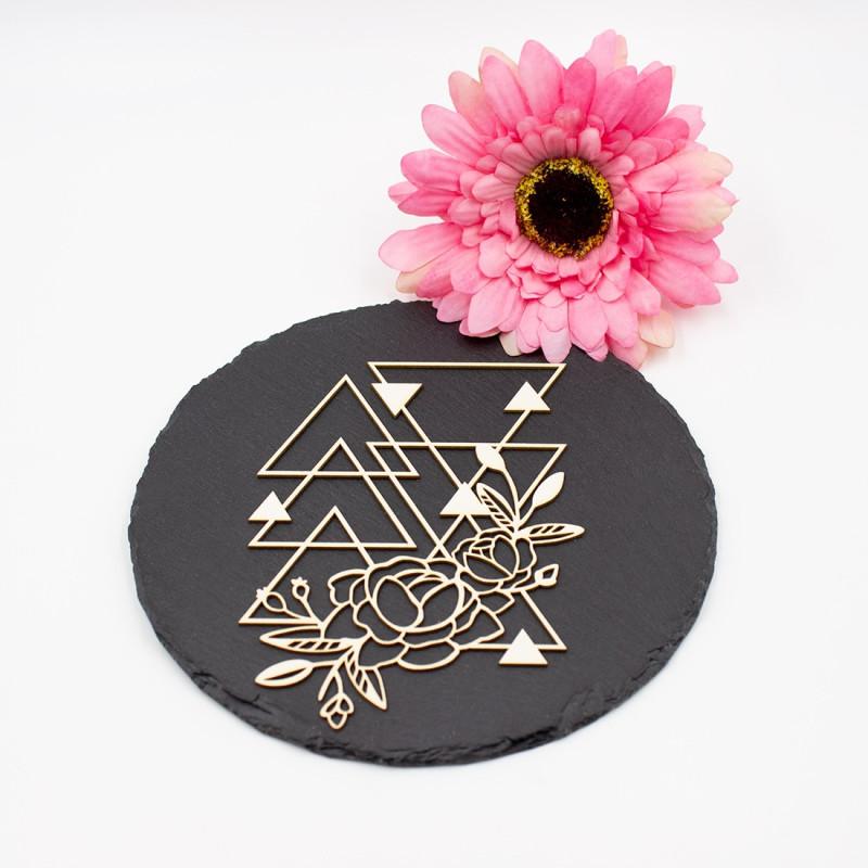 Chipboard floral aux formes géométriques triangulaires en carton bois SCRAPMOUSET