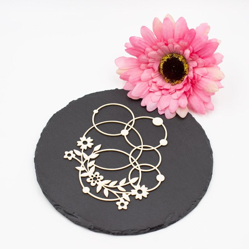 Chipboard floral aux formes géométrique rondes en carton bois SCRAPMOUSET
