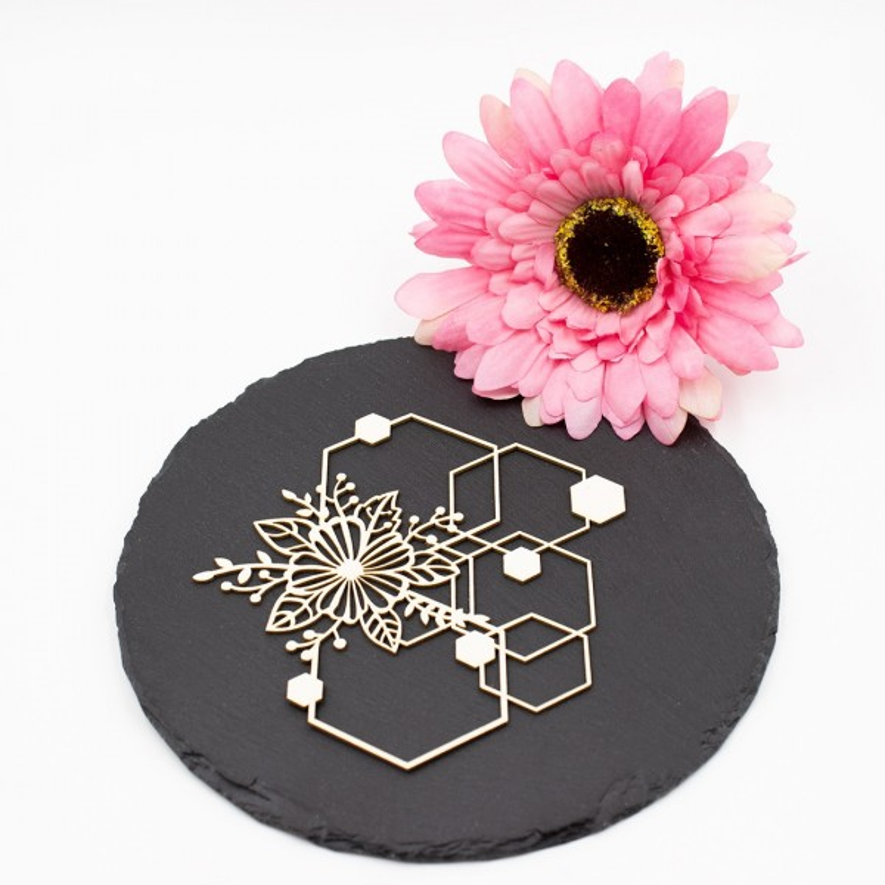 Chipboard floral aux formes géométriques hexagonales en carton bois SCRAPMOUSET