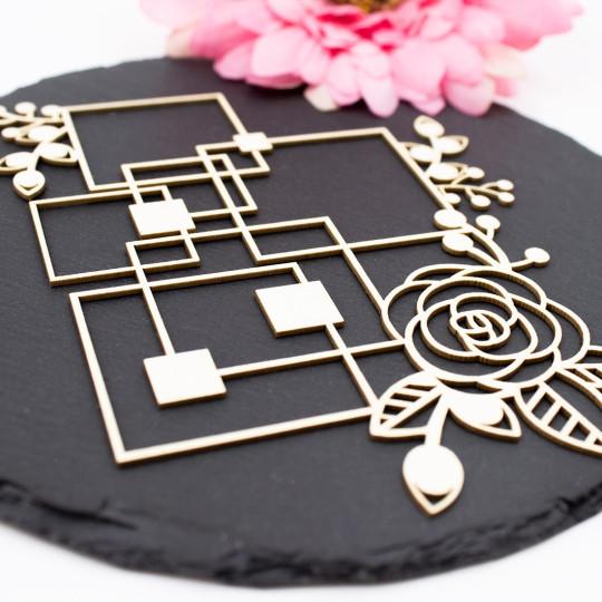 Chipboard floral aux formes géométriques carrées en carton bois SCRAPMOUSET