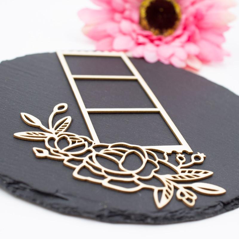Chipboard diapositive florale dentelée en carton bois SCRAPMOUSET