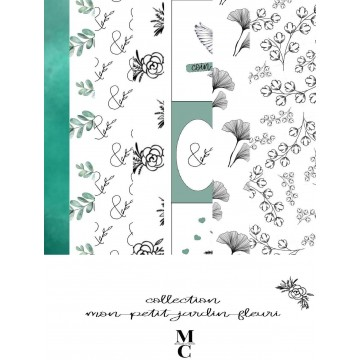 Set 6 papiers A4 scrapbooking collection Mon petit jardin fleuri MARGAUX CREATION