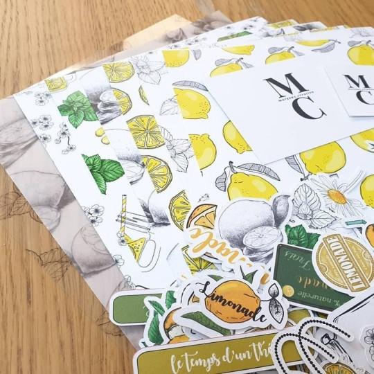 Set 6 papiers A4 scrapbooking collection Limonade MARGAUX CREATION