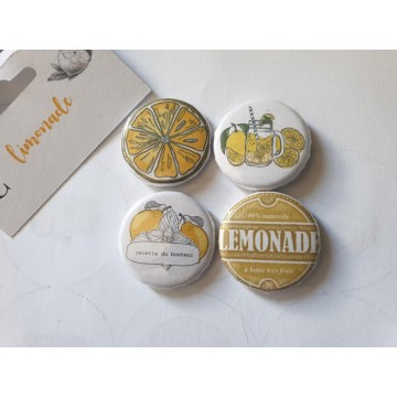 Lot 4 badges 32 mm collection Limonade MARGAUX CREATION