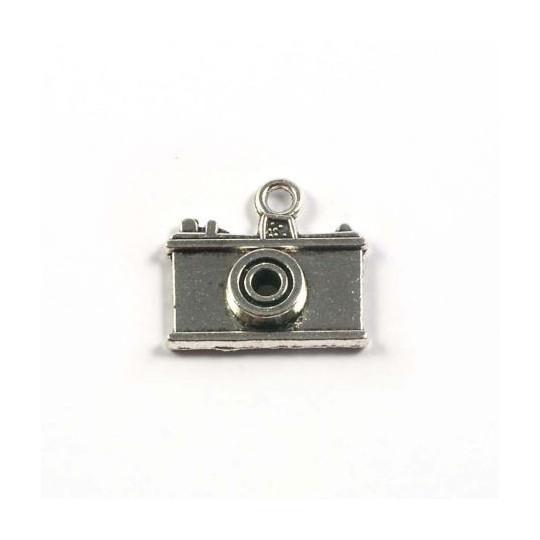 Breloque appareil photo métal argenté