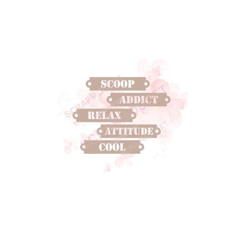 Ensemble de 5 étiquettes thème Attitude en carton bois SCRAPMOUSET