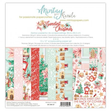 Bloc 12 papiers scrapbooking 30 x 30 collection The Sweetest Christmas MINTAY BY KAROLA