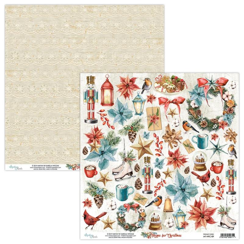 Papier scrapbooking motifs à découper collection Home for Christmas MINTAY BY KAROLA